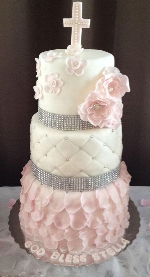 Gâteau de baptême de fleurs